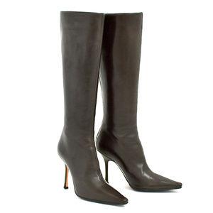Jimmy Choo London Brown Knee High Zip Boots